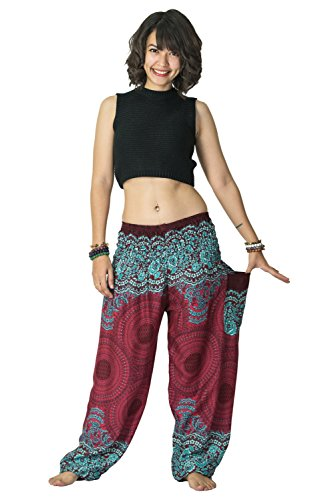 Harem Pants Unisex Geometric Mandala Harem Pants for Men & Women in Red,One -