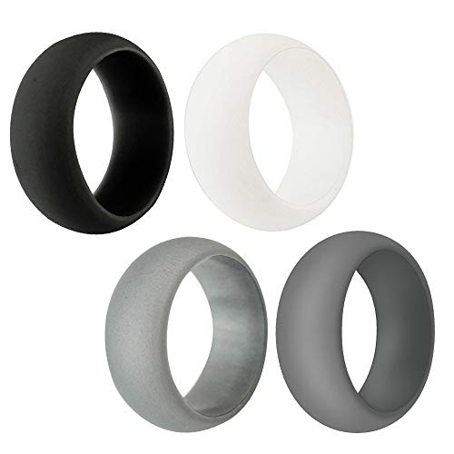 SMALLE ◕‿◕ Silicone Ring for Women, 4-Pc Wedding Bands Engagement Active Athletes Comfortable Fit Non-Toxic Antibacterial Black