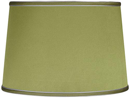 Sydnee Satin Olive Green Drum Lamp Shade 14x16x11 - 14 High Green Lamp Shade