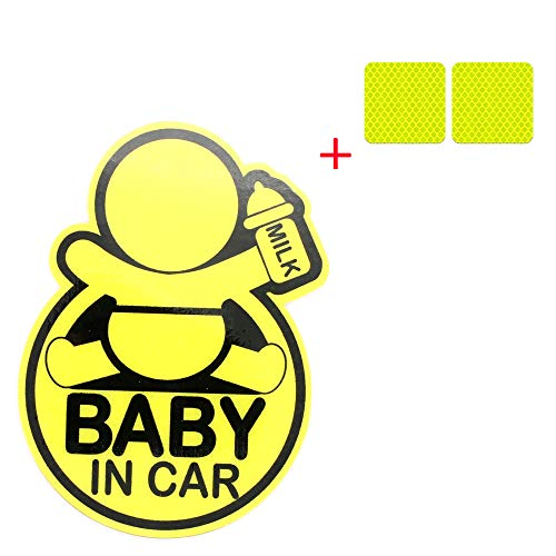 Cute Baby in CAR Reflective car Bumper Magnet, Reflective Vehicle Logo Sticker Bumper for New Parents, reducing Road Anger and New Parents and Children's Accidents + More Than 2 Reflective Stickers