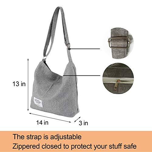 with Tote Womens Bags Grey Crossbody Travel Bag Canvas Purse Zipper Messenger Large Casual Shoulder Hobo Work qBXwzrgB