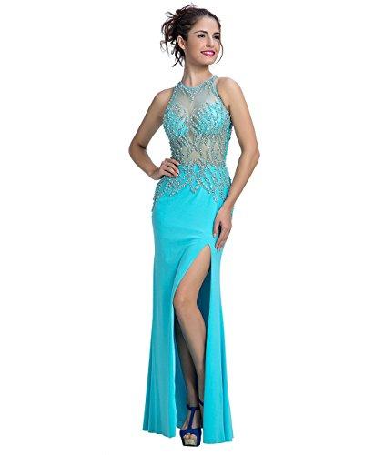 [Vinvv Women Blue Beaded See Through Floor Length Prom Evening Gown 2016 Blue Size 20W] (Maternity Fancy Dress Uk)