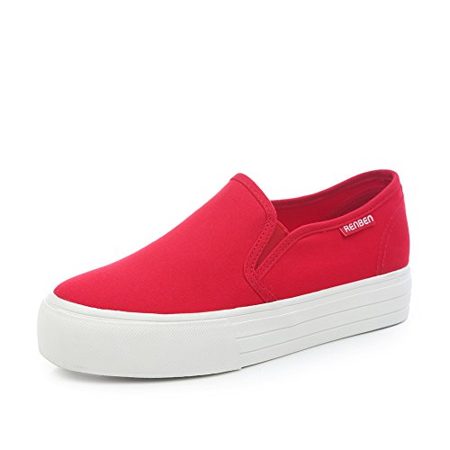 Zapato casual de verano/Bizcocho con zapatos de suela gruesa/Zapatos de lona de los estudiantes coreanos a pedal/Aire Lok Fu zapatos C