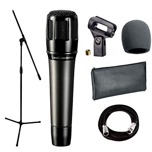 Audio-Technica ATM650 Dynamic Hypercardioid Instrument Microphone + with Mic Clamp & Pouch + Mic Stand + Mic Cable, 20 ft. XLR & Foam Windscreen