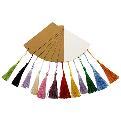 Chris.W 20Pcs Kraft Paper Blank Cardstock Bookmarks with 20 Colorful Tassels - Great for Projects and Gifts Tags(10Pcs White + 10 Pcs Brown) -5.5 by 2 inch