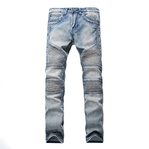 Agujeros Moda Denim Jeans Hombres Con Destruido Vaqueros Slim Pantalones Parche Nostalgia Casual 1 Stretch Fit Vintage Pantalones PUwn6ndq