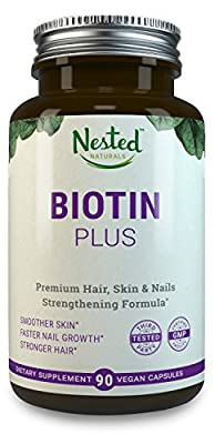 BIOTIN PLUS 5000 mcg | 90 High Potency Vegan Capsules | Male & Female Skin, Nails and Hair Growth Vitamins with B-Complex | Vitamin B7 Supplements for Men & Women | Natural Hair Loss Supplement Pills