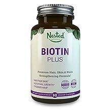 BIOTIN PLUS 5000 mcg + Vitamins B3, B6, B12 Help Rejuvenate Cells, Antioxidants Vitamins C & E | Comprehensive Multivitamin Biotin Supplements to Nourish Skin, Hair & Nails | Vegan Biotin Pills