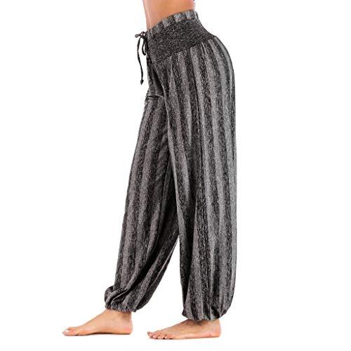 F_topbu Women's Yoga Pants Fashion Striped Print Yoga Pant Casual High Waist Leggings Bloom Trousers Gray ()