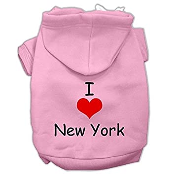 Mirage mascota productos I Love New York Protector de impresión mascota sudaderas con capucha, Rosa, XXL: Amazon.es: Productos para mascotas