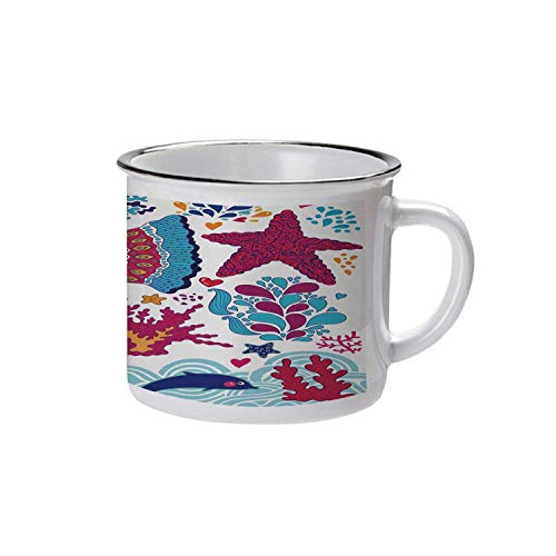 - Whale Stylish Enameled Cup,Funny Fishes Starfish Coral Crab Underwater Life Waves Marine Clipart Illustration for Daily Use,2.9