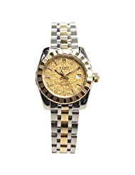 Tudor Unisex 28mm Steel Bracelet & Case Sapphire Crystal Automatic Gold-Tone Dial Watch 22013-62543-CHCL