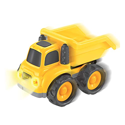 Rugged Racers Push and Go Toy Dump Trucks Friction Powered Construction Vehicles |with Lights, Sounds for Kids Toddlers Boys and Girls