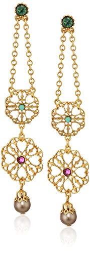 Flower Big Ben - Ben-Amun Jewelry Boheme Double Flower Pearl Drop Earrings for Evening Formal Wear, Gold, One Size
