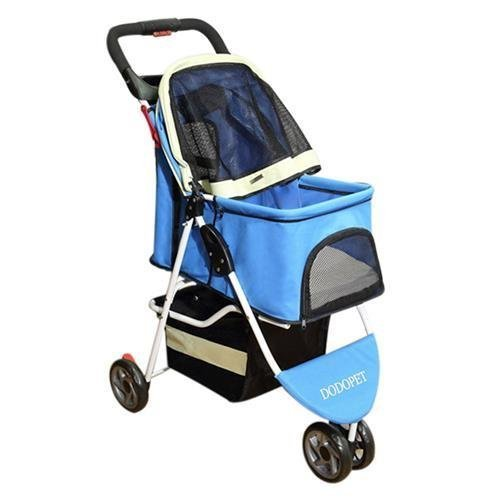 Paw Essentials Deluxe Folding Three Wheel Pet Carrier Stroller Cart for cats and dogs - Blue/White, up to 33lbs by Paw Essentials (Image #1)