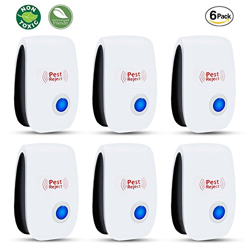 Sumpol Ultrasonic Pest Repeller 6 Packs - [2018 Upgrated] Home Pest Control Repellent - Electronic Insects & Rodents Repellent for Mosquito, Mouse, Cockroaches,Rats,Bug, Spider, Ant, Flies by Sumpol