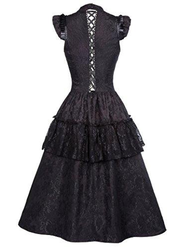 Kleid 1 Corsagenkleid Bp380 Kleid schwarz Belle Damen Gothic Lang Schwarz Steampunk Poque n8XHqfWvUO