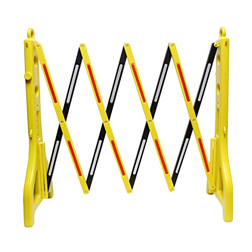 BISupply | Folding Barricade - 8 Ft Portable Road Safety Barriers with Reflectors, Construction Barricade Safety Fence