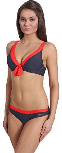Verano Bikini Conjunto para mujer Lilian Grafito/Rojo