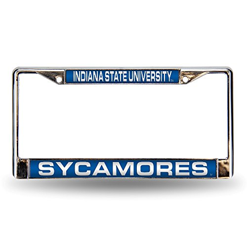 NCAA Indiana State Sycamores Laser Cut Inlaid Standard Chrome License Plate Frame