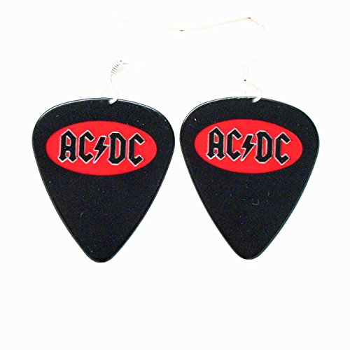 AC DC Earrings ACDC Black Red Logo Guitar Pick Rock Music Metal Jewelry (Logo Dc Guitar)