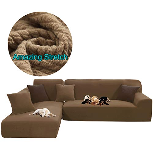 (Obokidly Anti-Wrinkle Stripe Knitting Sofa slipcovers for L Shaped Left Right Sectional Chaise Furniture Protector for Baby Pet Hair (Coffee, Large Sectional Chaise Sofa + Large 3-Seater Sofa))