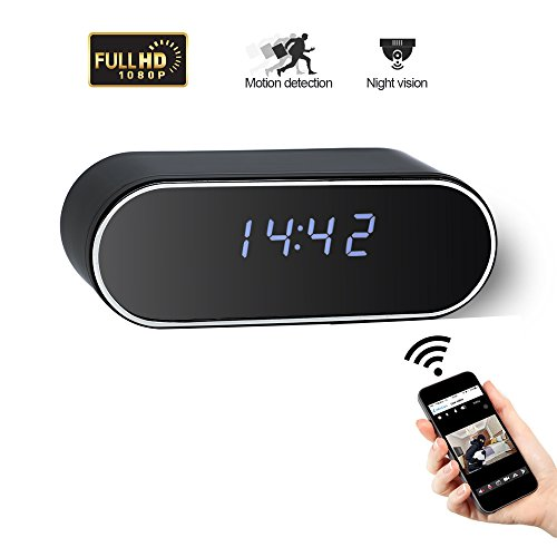 Wifi 1080P Spy Clock Camera UYIKOO wireless Mini cam with Motion Detection Alarm App Realtime Video Remotely Monitoring Wide Angle Lens Home Security Camera, Black