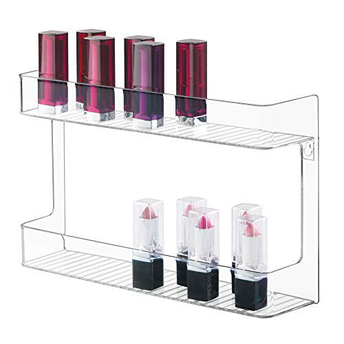 mDesign Wall Mount Cosmetic, Makeup, Beauty Product Storage Holder - 2 Shelves, Clear