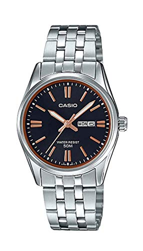 (Casio LTP1335D-1A2V Women's Standard Dress Analog Stainless Steel Day Date Black Dial Watch)