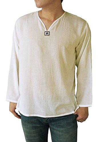 ZERSTYLE Men's T-Shirt Cotton 100% Hippie Shirt V-Neck Summer Beach Yoga Top (Medium, White) by ZERSTYLE