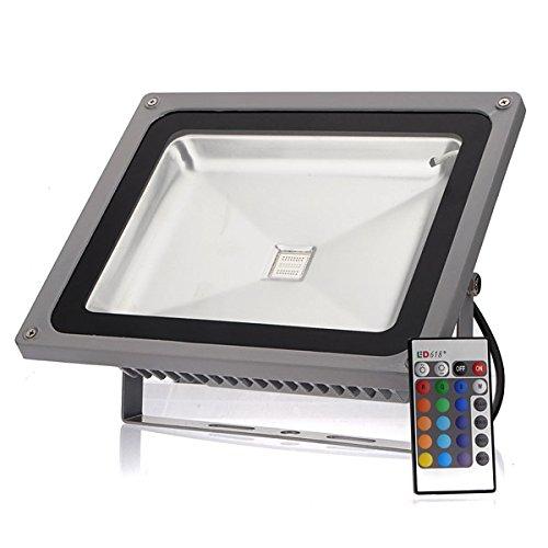 YULPING 50W 4000LM RGBは、リモートコントロール85-265Vで洪水の屋外光を変更 Hot   B07Q5WV3BK