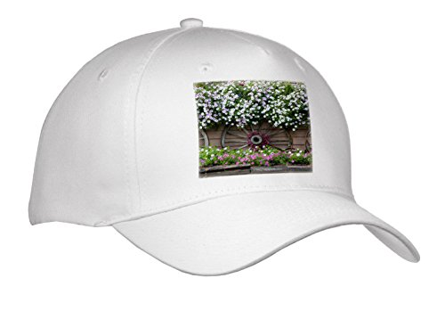 3dRose Danita Delimont - Gardens - USA, Alaska, Chena Hot Springs. Flowers and Wagon wheels. - Caps - Adult Baseball Cap (Cap_278376_1)