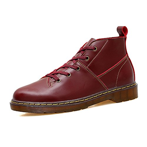 Mens Solid Cowskin Ankle Booties Lace Up Chukka Boots 3533 Wine Red o8xKhxZ