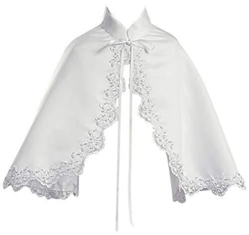 Dreamer P Little Girls Satin Cape Lace Trim Bolero Jacket Cover Shrug Sweater Christmas White M (L10T63)