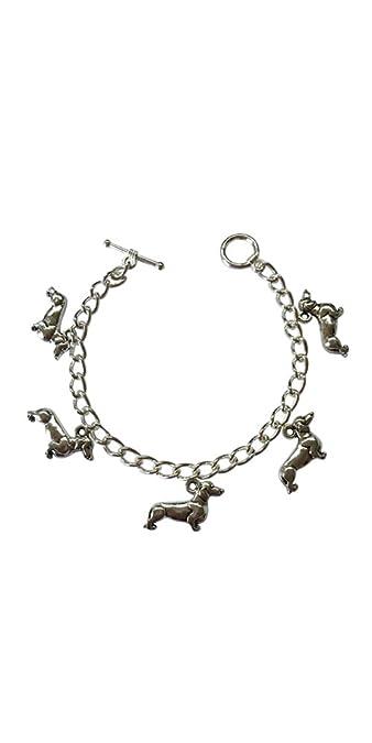 Crazy Dachshund Lady Charm Bracelet - Size Medium 17cm HpEp6