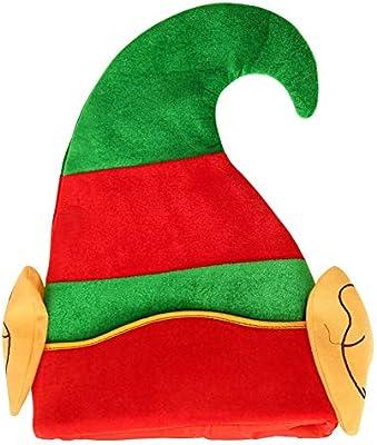 Homeit Navidad Tela no Tejida Sombrero de Duende Verde y Rojo con ...