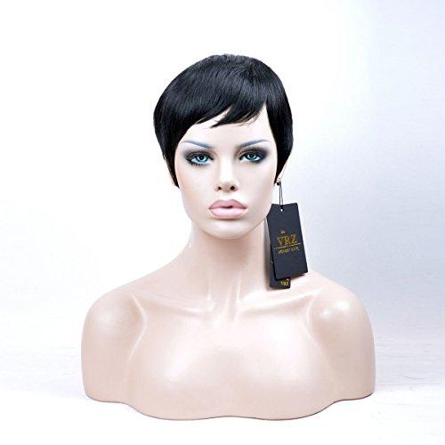VRZ Human Hair Wigs Short Pixie Cut Wig for Women Black Color 1B (PX9001) by VRZ (Image #4)