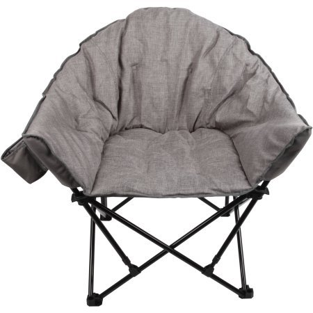 Ozark Trail Club Chair with mesh and fabric storage bag, Gray