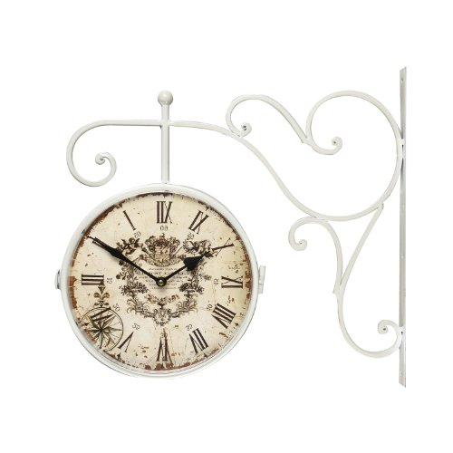 Asense White Iron Round Double-Sided Wall Hanging Clock with Scroll Wall Mount