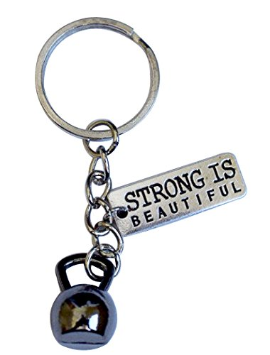 Kettlebell + Strong Is Beautiful Keychain (Black)
