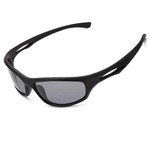 Siren Polarized Sports Sunglasses w Case TR90 Unbreakable Frame (Grey Lens Black Frame)