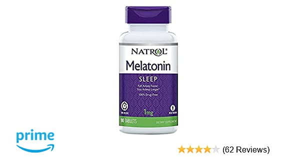 Amazon.com : Melatonin - Time Release, 1 mg 90 tab (TWO PACK) : Herbal Supplements : Beauty