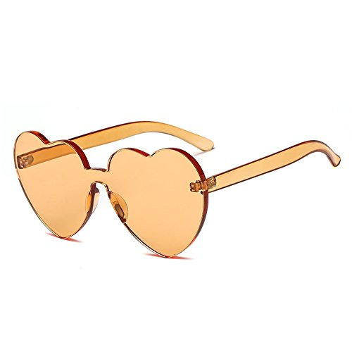 Bedis Colorful Transparent Heart Shape Sunglasses One Piece Rimless Eyewear BD210 (Orange, - Designer With And Heart Eyes