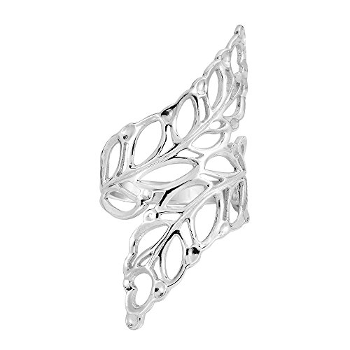 AeraVida Beautiful Cut-Out Leaf-Leaves Wrap .925 Sterling Silver Ring-6
