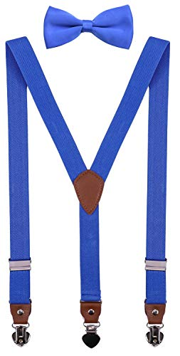 (SUNNYTREE Boys Suspenders with Bow Tie Set Adjustable Y Back for Wedding Party 30 inches Royal)