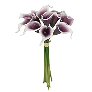 Lot of 60-Real Touch calla lilies (Picasso-Plum) 38