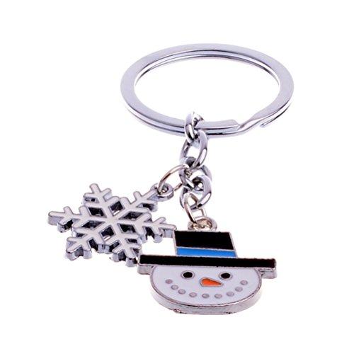 (BESTOYARD Cute Mini Christmas Snowman and Snowflake Design Handbag Keychain Key Ring Decorative Car Key Chain Trinket Souvenir Key Pendant)