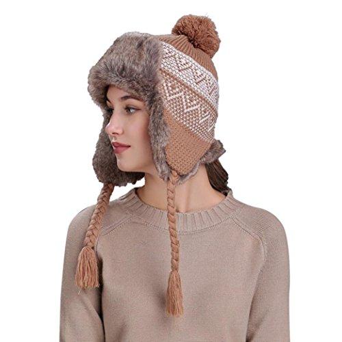 Highpot Women Knit Wool Beanie Hat Winter Warm Ski Cap with Ear Flaps