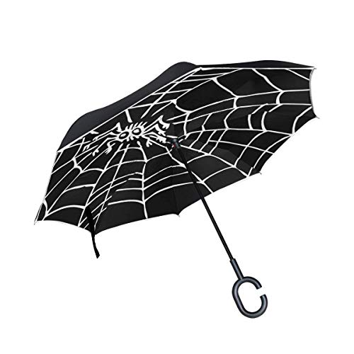 Black and White Halloween Spider Web Inverted Umbrella Double Layer Windproof UV Protection Compact Car Reverse Umbrella ()