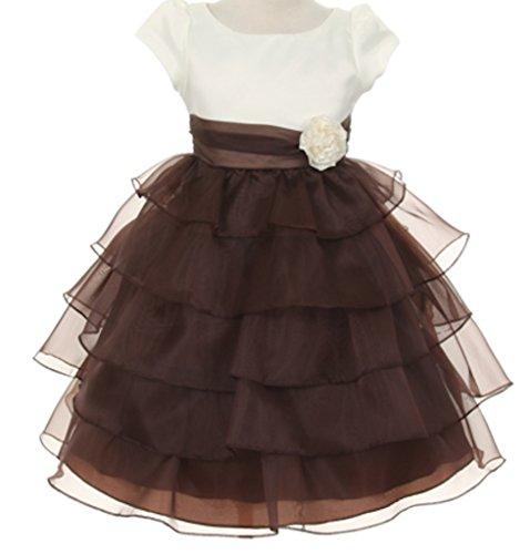 Big Girls' Flower Girls Dresses Bridal Satin Organza Tiered Flower Dress Ivory Brown Size 8